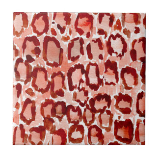 WILD CAT Orange Leopard Skin Animal Print Small Square Tile