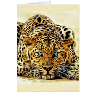 Wild Cat with Blue Eyes Card