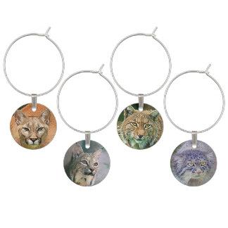 Wild Cats Lynx, Puma, Manul Wine Charms