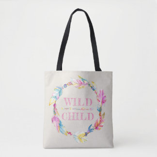 Wild child colorful watercolor art bag
