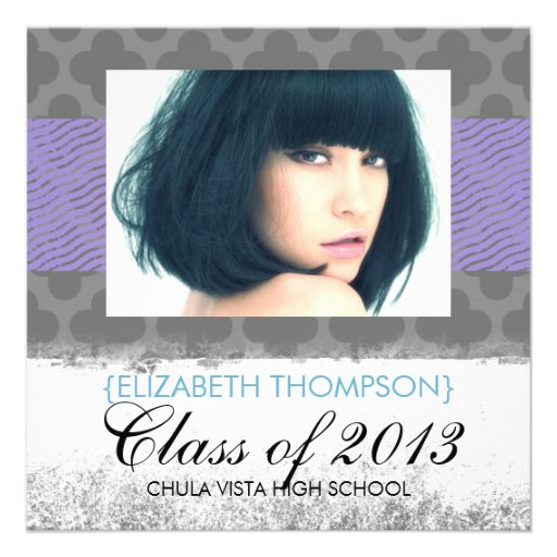 Wild Child Purple Trendy Graduation Announcements