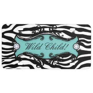 Wild Child Zebra Funny Cute Cool License Plate