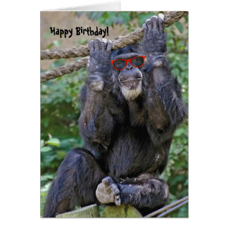 Wild Chimp with sunglasses Card