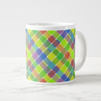 Wild Colored Diagonal Plaid 2 Extra Large Mugs