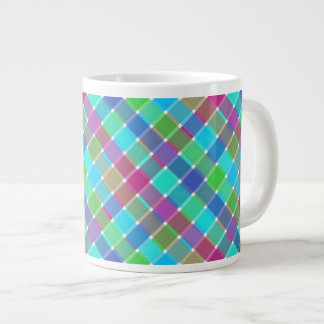 Wild Colored Diagonal Plaid 4 Jumbo Mug