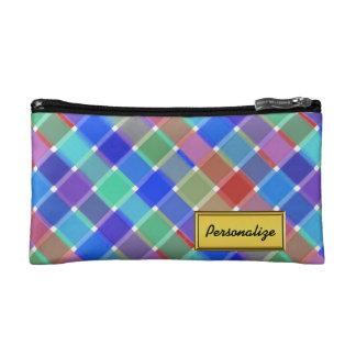 Wild Colored Diagonal Plaid 5 Cosmetic Bag