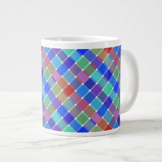 Wild Colored Diagonal Plaid 5 Extra Large Mugs