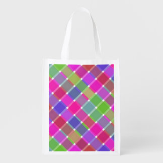 Wild Colored Diagonal Plaid 7 Grocery Bags