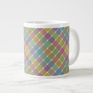 Wild Colored Diagonal Plaid 9 Jumbo Mugs