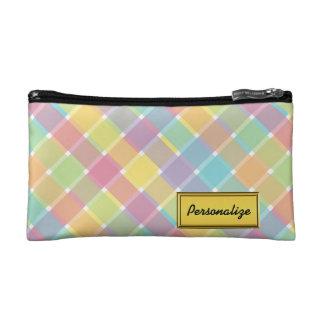 Wild Colored Diagonal Plaid Pastel Cosmetic Bag