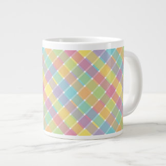 Wild Colored Diagonal Plaid Pastel Extra Large Mugs