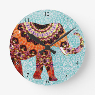Wild Colorful Boho Elephant Pattern Round Clock