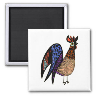Wild Colorful Rooster Square Magnet