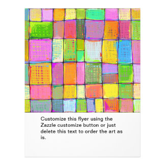 Wild colourful fun modern abstract painting quilt 21.5 cm x 28 cm flyer