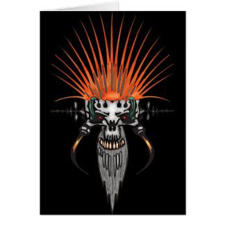 Wild Cyber Skull With Tusks Note Card