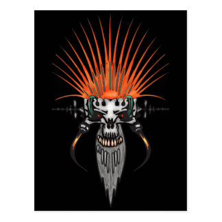 Wild Cyber Skull With Tusks Postcard