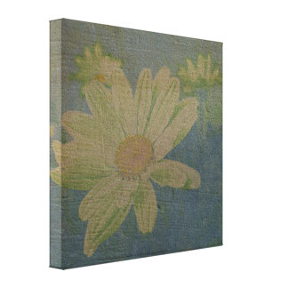 Wild Daisy Blue Canvas Stretched Canvas Print