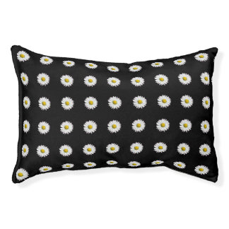 Wild Daisy Pattern in Black and White Pet Bed