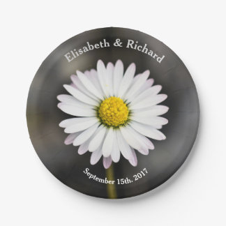 Wild Daisy White and Yellow Paper Plate