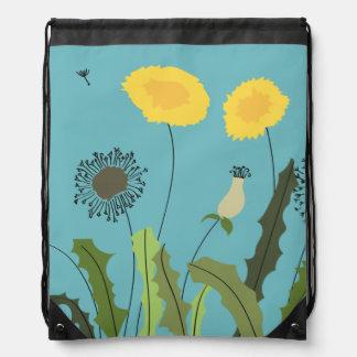 Wild Dandelion Print Drawstring Bag