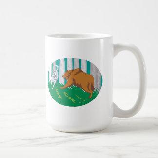 Wild Dog Wolf Fighting Grizzly Bear Mug