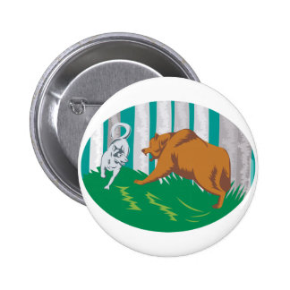 Wild Dog Wolf Fighting Grizzly Bear Pin