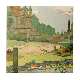 Wild Duck and Ducklings Swimming on the River Small Square Tile