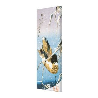 Wild Duck Swimming Snow Laden Reeds by Hiroshige Canvas Print