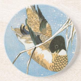 Wild Duck Swimming Snow Laden Reeds by Hiroshige Sandstone Coaster