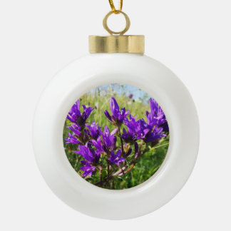 Wild elegant purple flower ceramic ball christmas ornament