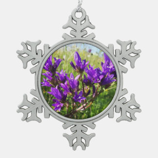 Wild elegant purple flower Christmas Snowflake Pewter Christmas Ornament