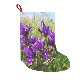 Wild elegant purple flower small christmas stocking