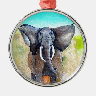 Wild Elephant Power Silver-Colored Round Decoration