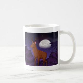 Wild Elk in the Moonlight Basic White Mug