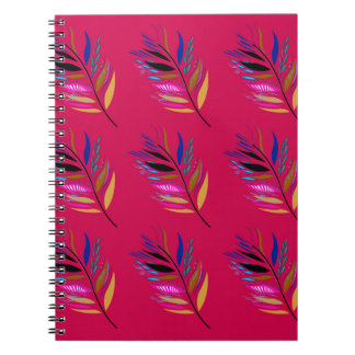 Wild ethno leaves /  feathers textile edition notebook