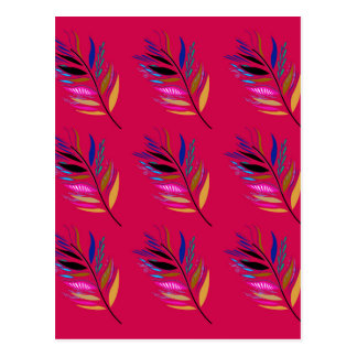 Wild ethno leaves /  feathers textile edition postcard