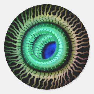Wild Eye -  Blue Pupil,  Green Iris Round Sticker