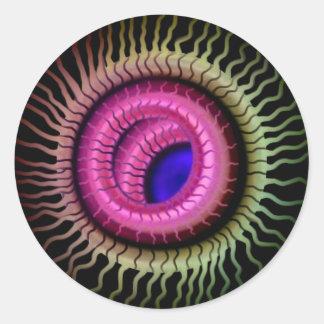 Wild Eye -  Blue Pupil,  Pink Iris Round Sticker
