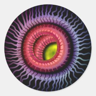 Wild Eye -  Gold Pupil,  Red Iris Round Sticker