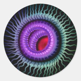 Wild Eye Sticker-  Red Pupil, Purple Iris Round Sticker