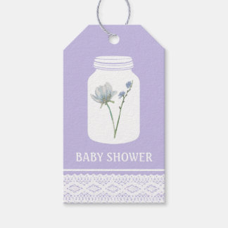 Wild Flower Mason Jar and Lace Baby Shower Gift Tags