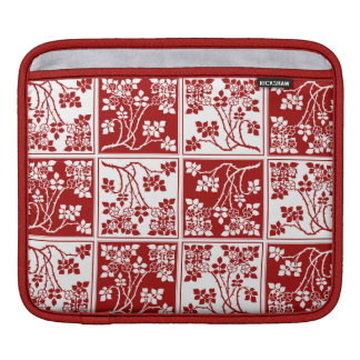 Wild Flower Roses Square Block Tiled Red White Sleeves For iPads