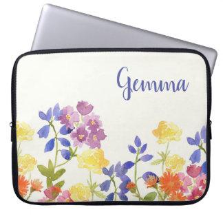 Wild Flower Watercolour Personalised Laptop Sleeve