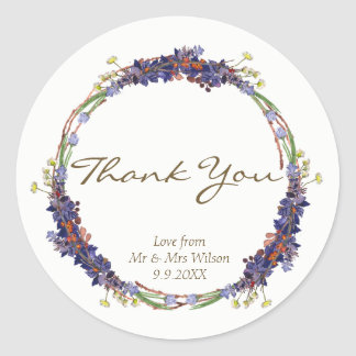 wild flowers daisy wreath thank you favor stickers