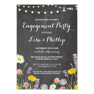 Wild Flowers Engagement Party Chalk Shower Invite