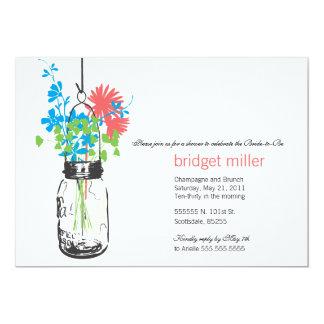 Wild flowers & Mason Jar Bridal Shower 13 Cm X 18 Cm Invitation Card