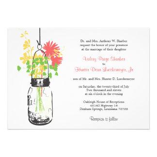 Wild flowers Mason Jar Wedding Invitations