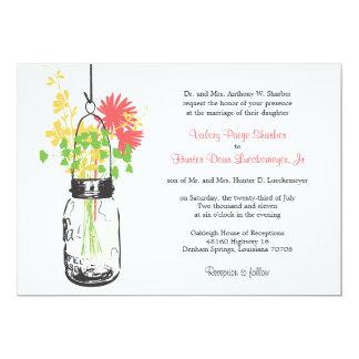 Wild flowers & Mason Jar Wedding Invitations