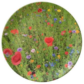 Wild flowers mix Photo Decorative Porcelain Plate