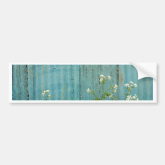wild flowers nature blue paint fence texture bumper sticker